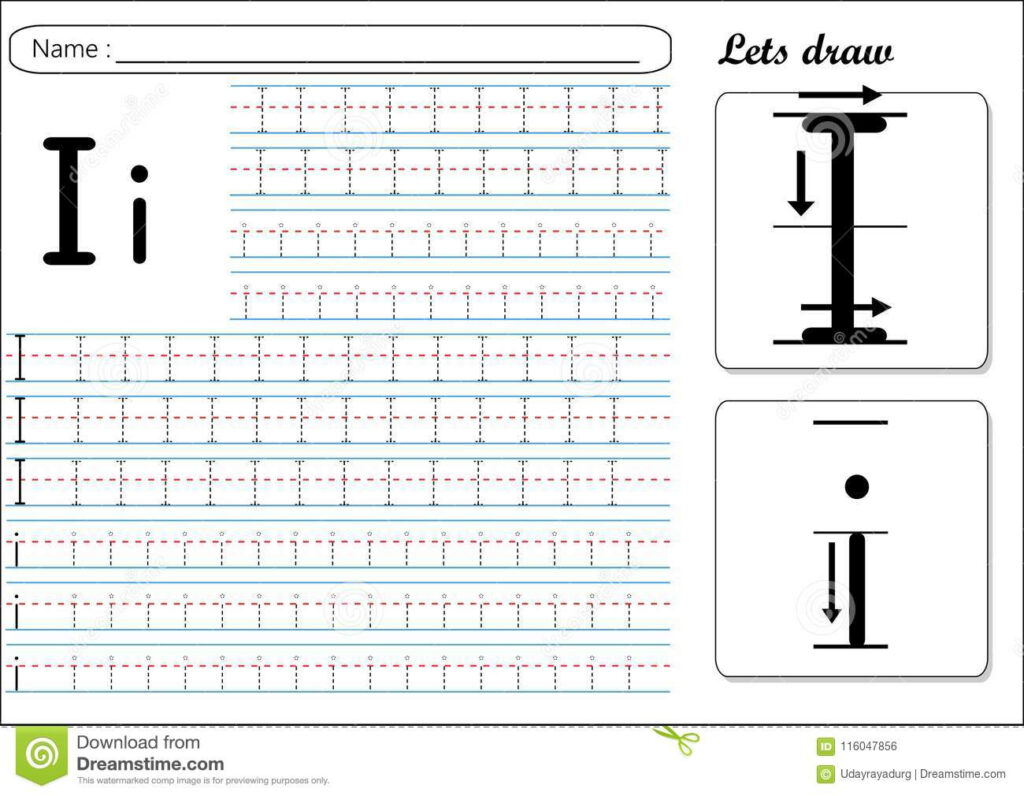 Tracing Worksheet  Ii Stock Vector. Illustration Of Their In Letter I Tracing Sheet