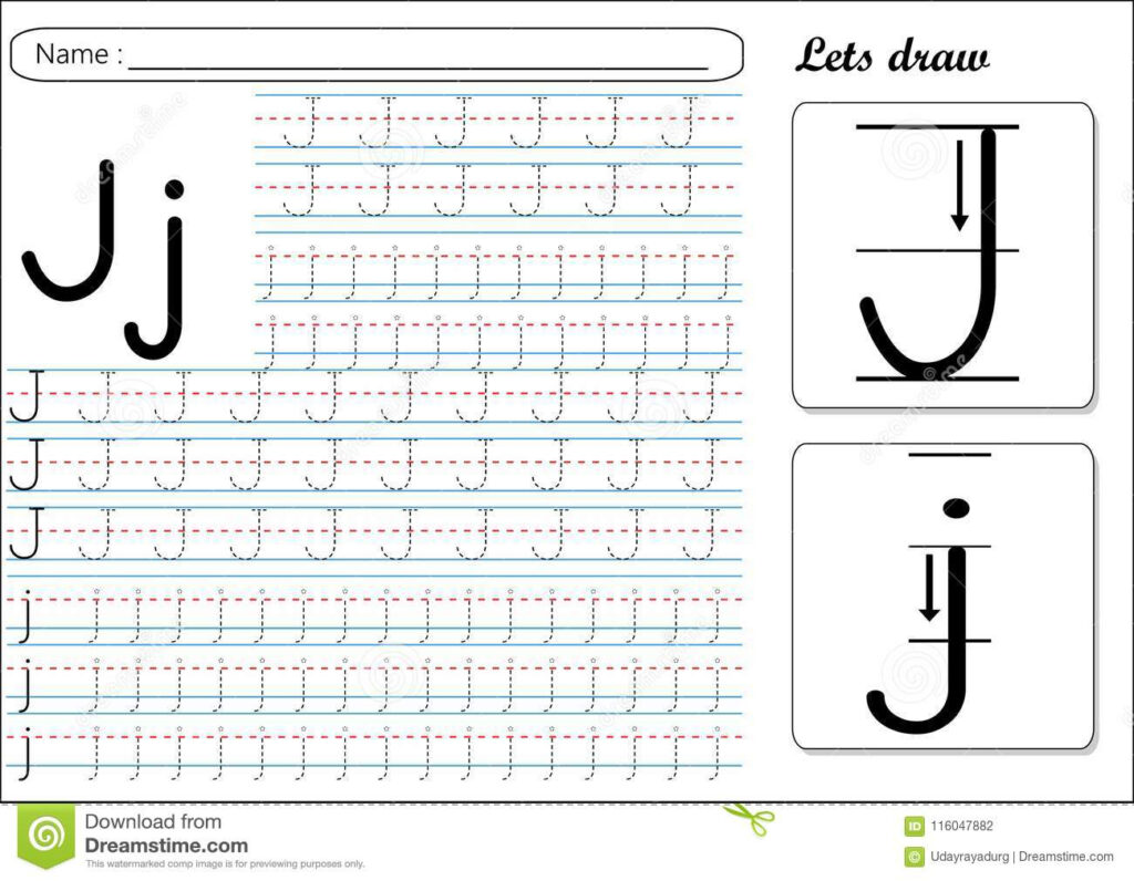 Tracing Worksheet  Jj Stock Vector. Illustration Of English In Tracing Letter J Preschool