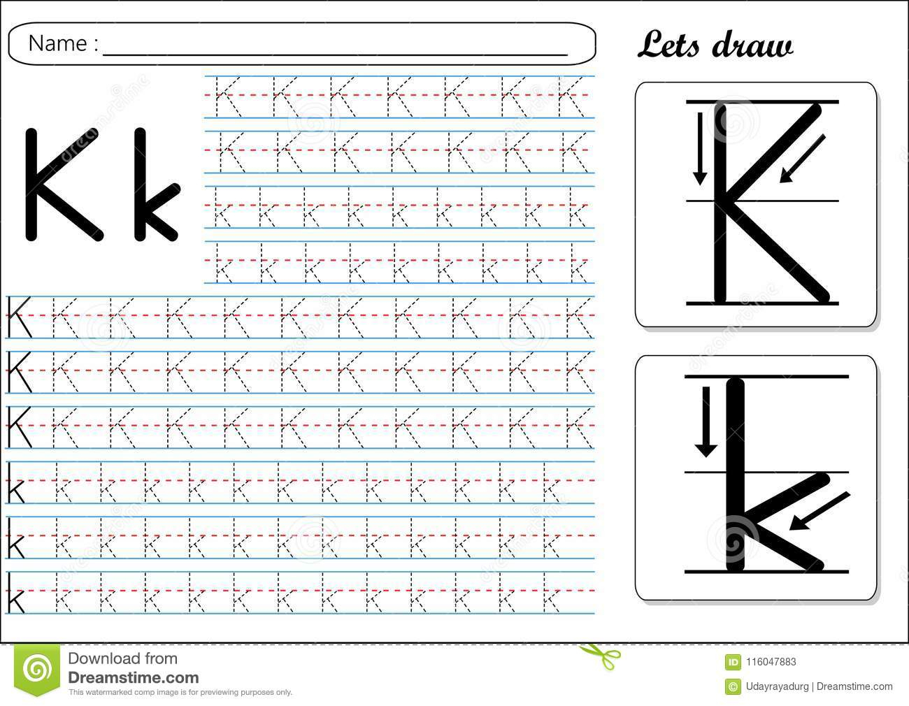 Tracing Worksheet -Kk Stock Vector. Illustration Of Cursive in K Letter Tracing