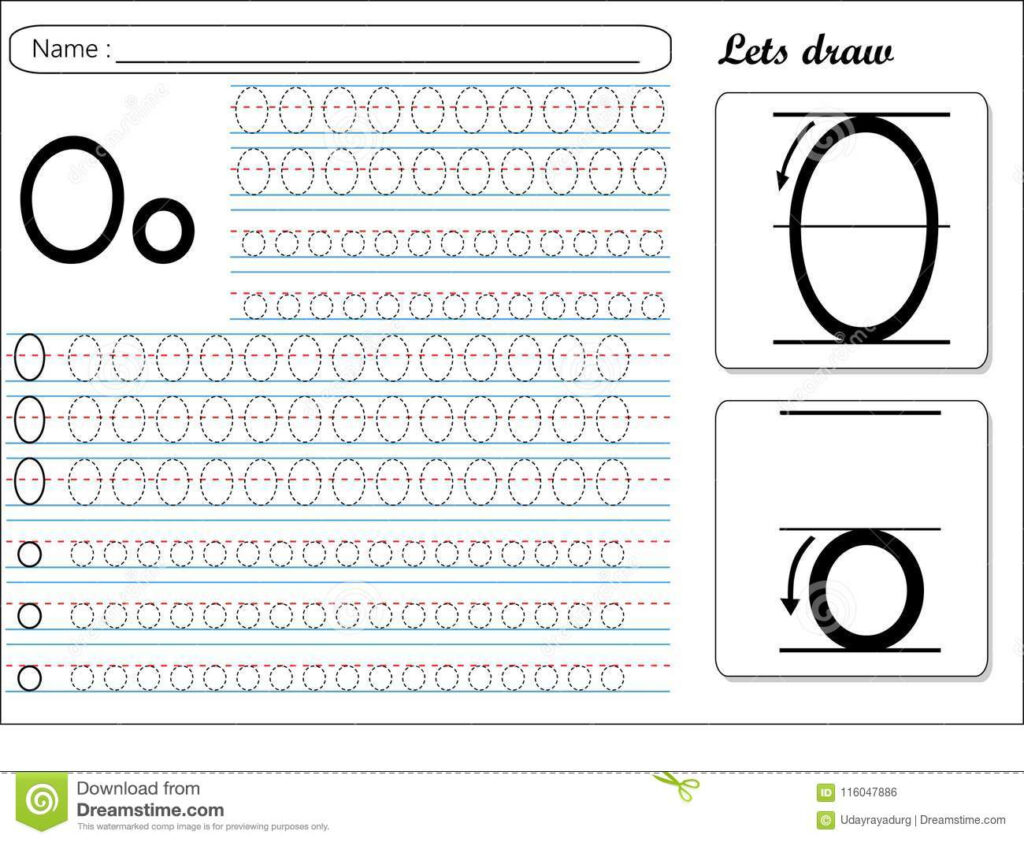 Tracing Worksheet  Oo Stock Vector. Illustration Of With Regard To Letter O Tracing Sheet