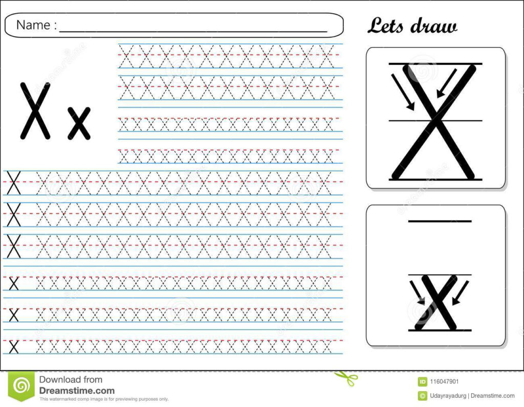 Tracing Worksheet  Xx Stock Vector. Illustration Of Letter Pertaining To Letter X Tracing Sheet