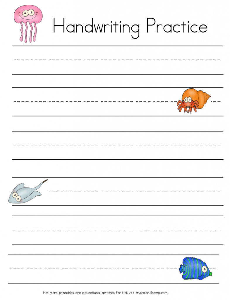 Under The Sea Themed Handwriting Sheets (Perfect For Story With Tracing Name Ethan