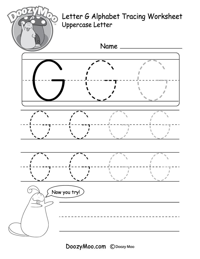 Uppercase Letter G Tracing Worksheet - Doozy Moo inside Letter G Worksheets For Kindergarten Pdf