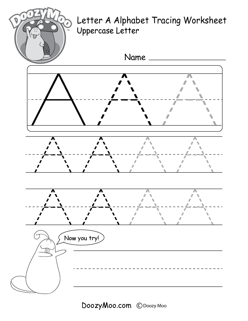 Uppercase Letter Tracing Worksheets (Free Printables in Letter A Tracing Worksheets Pdf