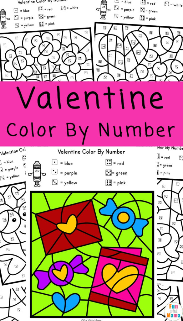 Valentine Colornumber Worksheets   Fun With Mama With Valentine Alphabet Worksheets