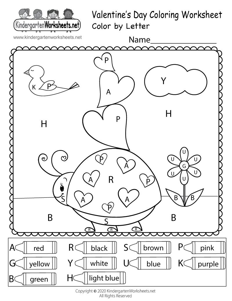 Valentine's Day Colorletter Worksheet For Kindergarten throughout Valentine Alphabet Worksheets