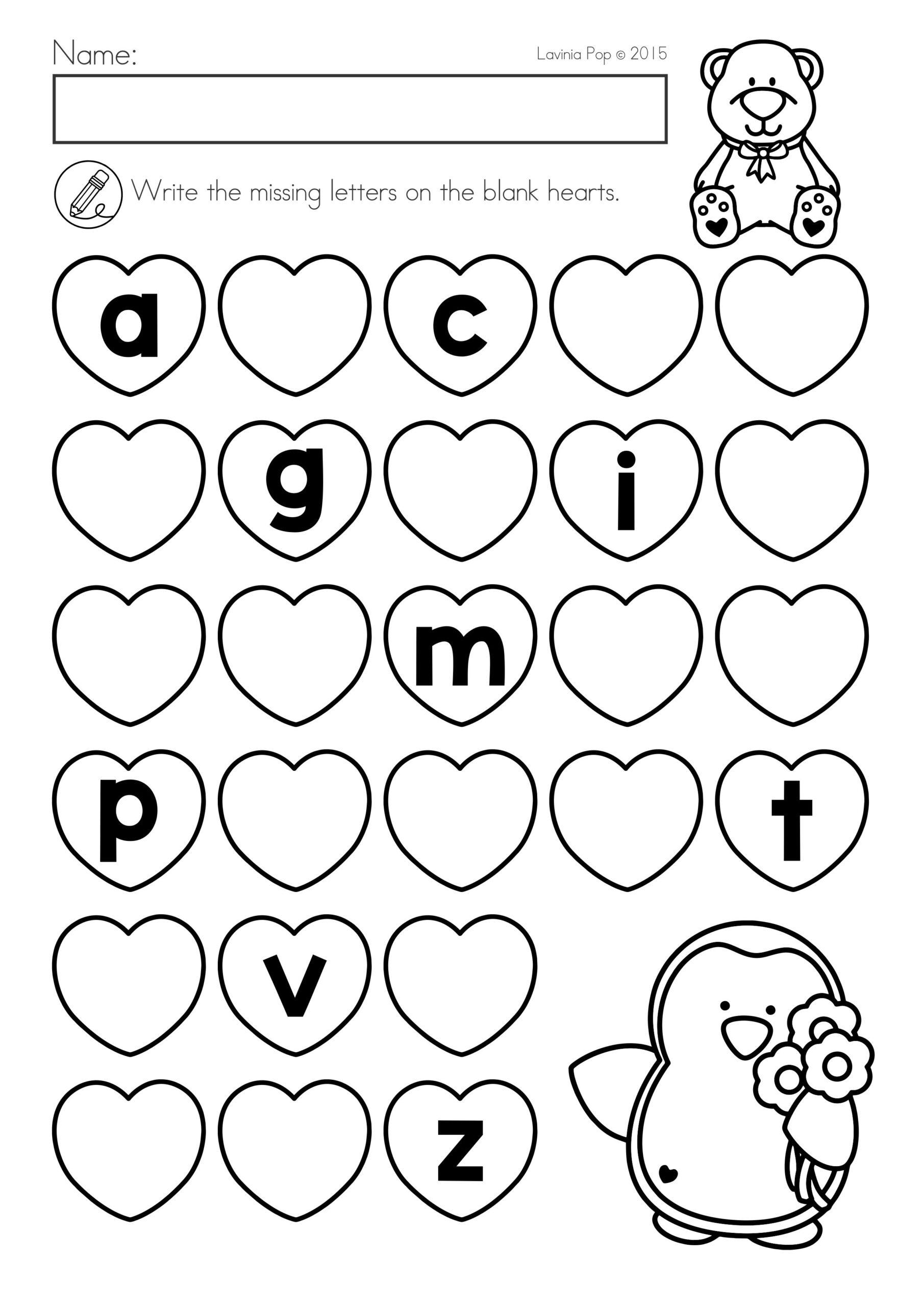 Valentine's Day Math & Literacy Worksheets & Activities No with regard to Valentine Alphabet Worksheets