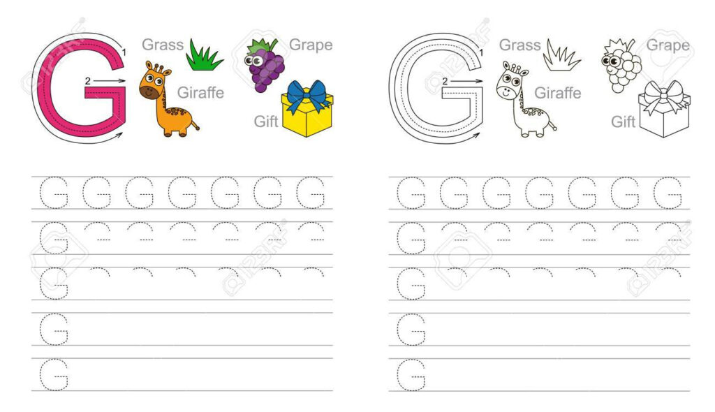 Vector Exercise Illustrated Alphabet. Learn Handwriting. Page.. Inside Letter G Tracing Page