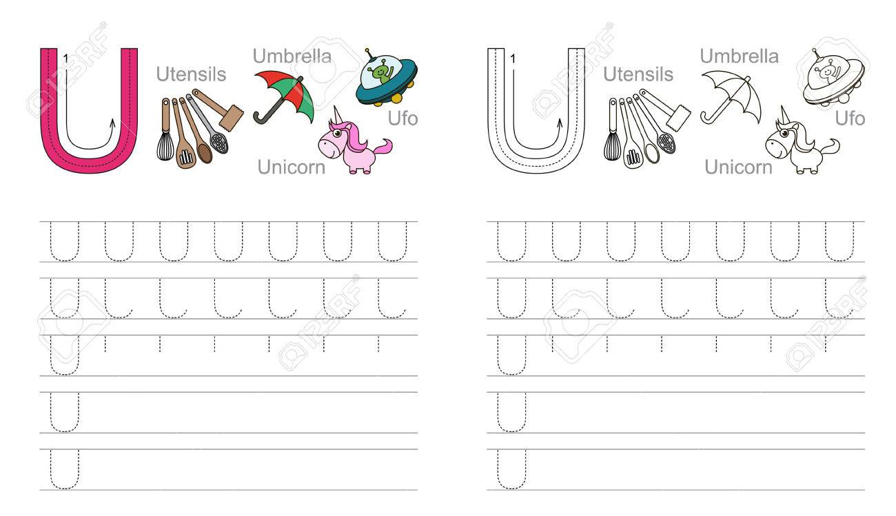 Vector Exercise Illustrated Alphabet. Learn Handwriting. Page.. inside Letter U Tracing Page