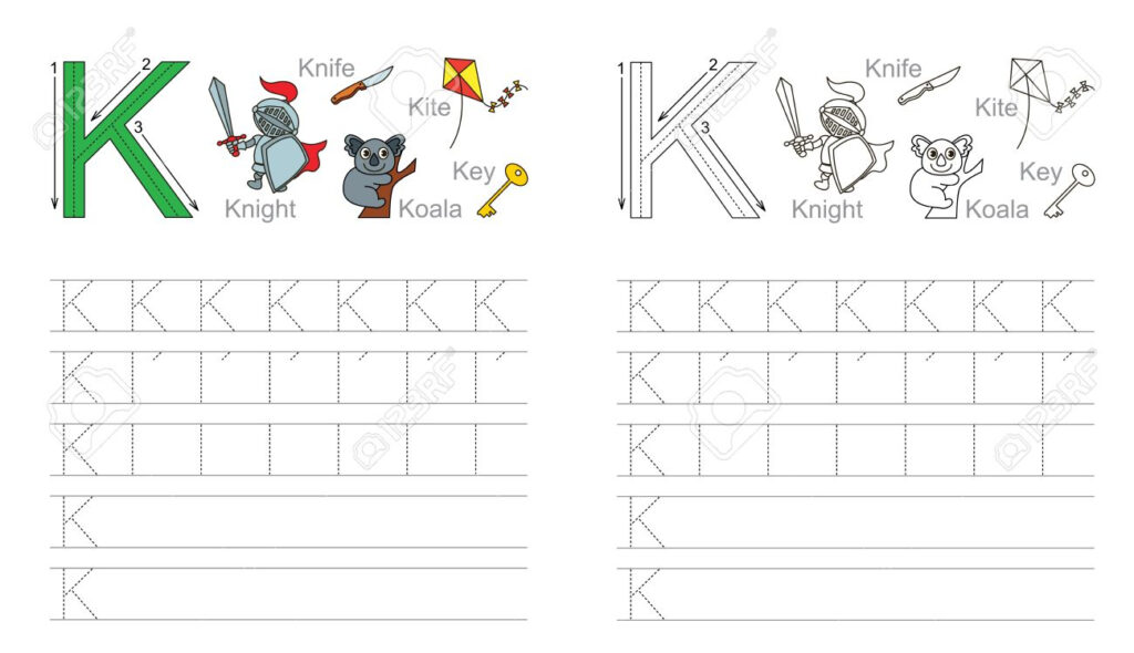 Vector Exercise Illustrated Alphabet. Learn Handwriting. Page.. With Letter Tracing K