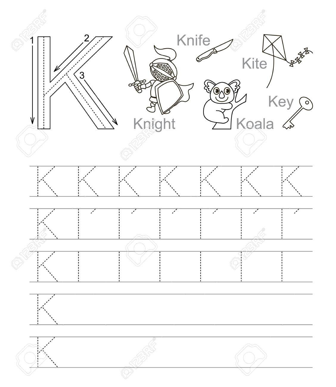 Vector Exercise Illustrated Alphabet. Learn Handwriting. Tracing.. for Alphabet K Tracing