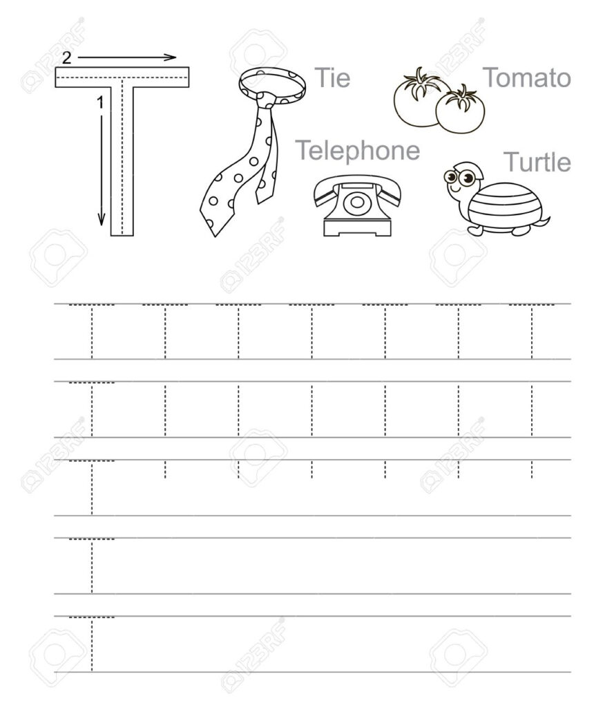 Vector Exercise Illustrated Alphabet. Learn Handwriting. Tracing.. For Alphabet T Tracing