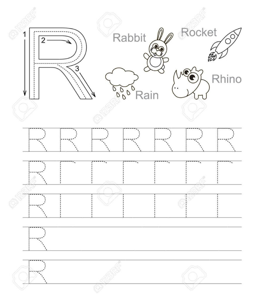 Vector Exercise Illustrated Alphabet. Learn Handwriting. Tracing.. In Letter R Tracing Worksheets