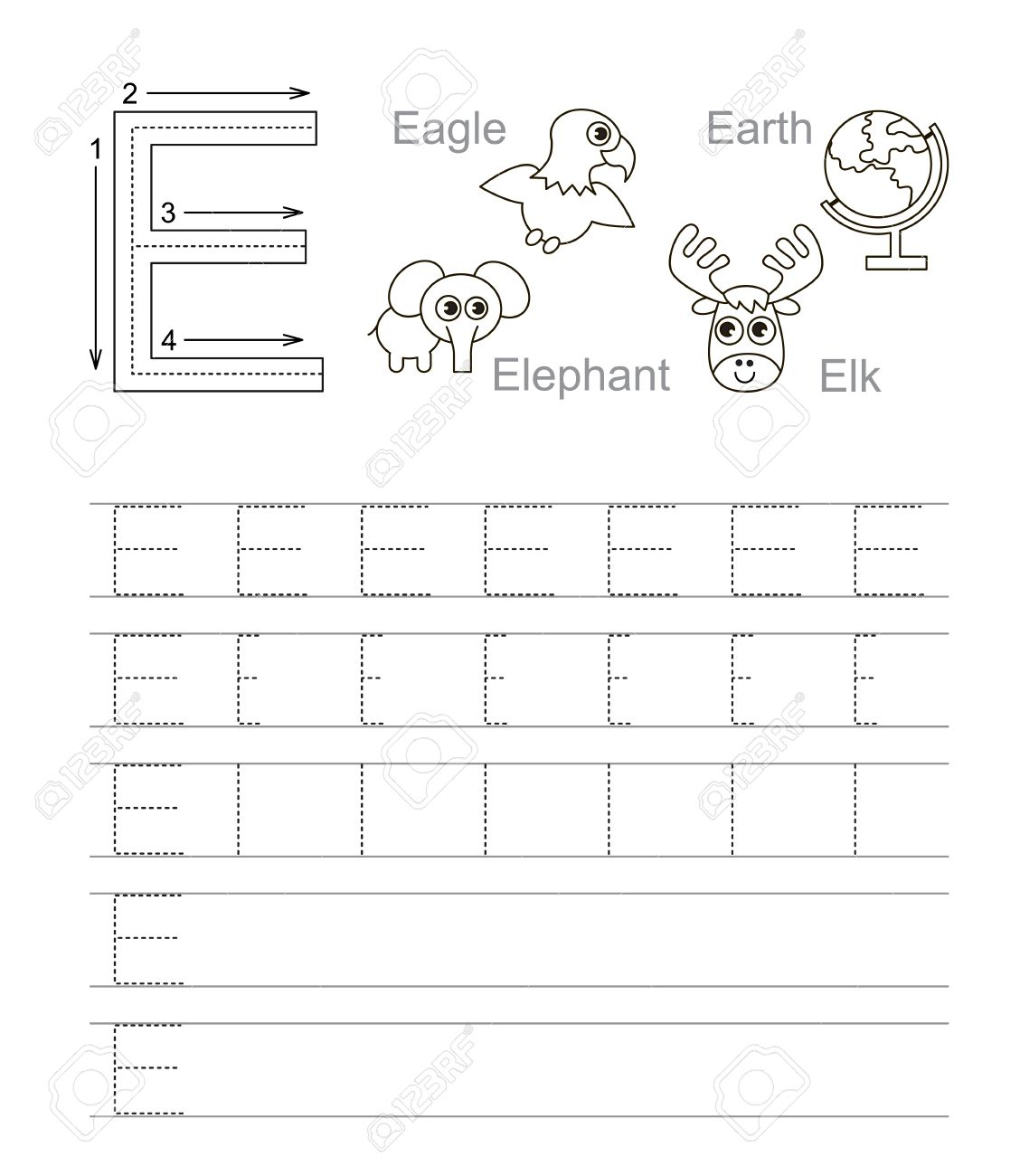 Vector Exercise Illustrated Alphabet. Learn Handwriting. Tracing.. pertaining to Alphabet E Tracing Worksheets