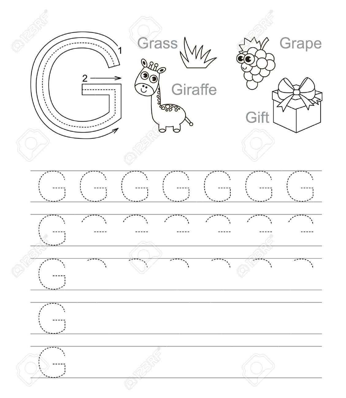 Vector Exercise Illustrated Alphabet. Learn Handwriting. Tracing.. regarding Letter G Tracing Page