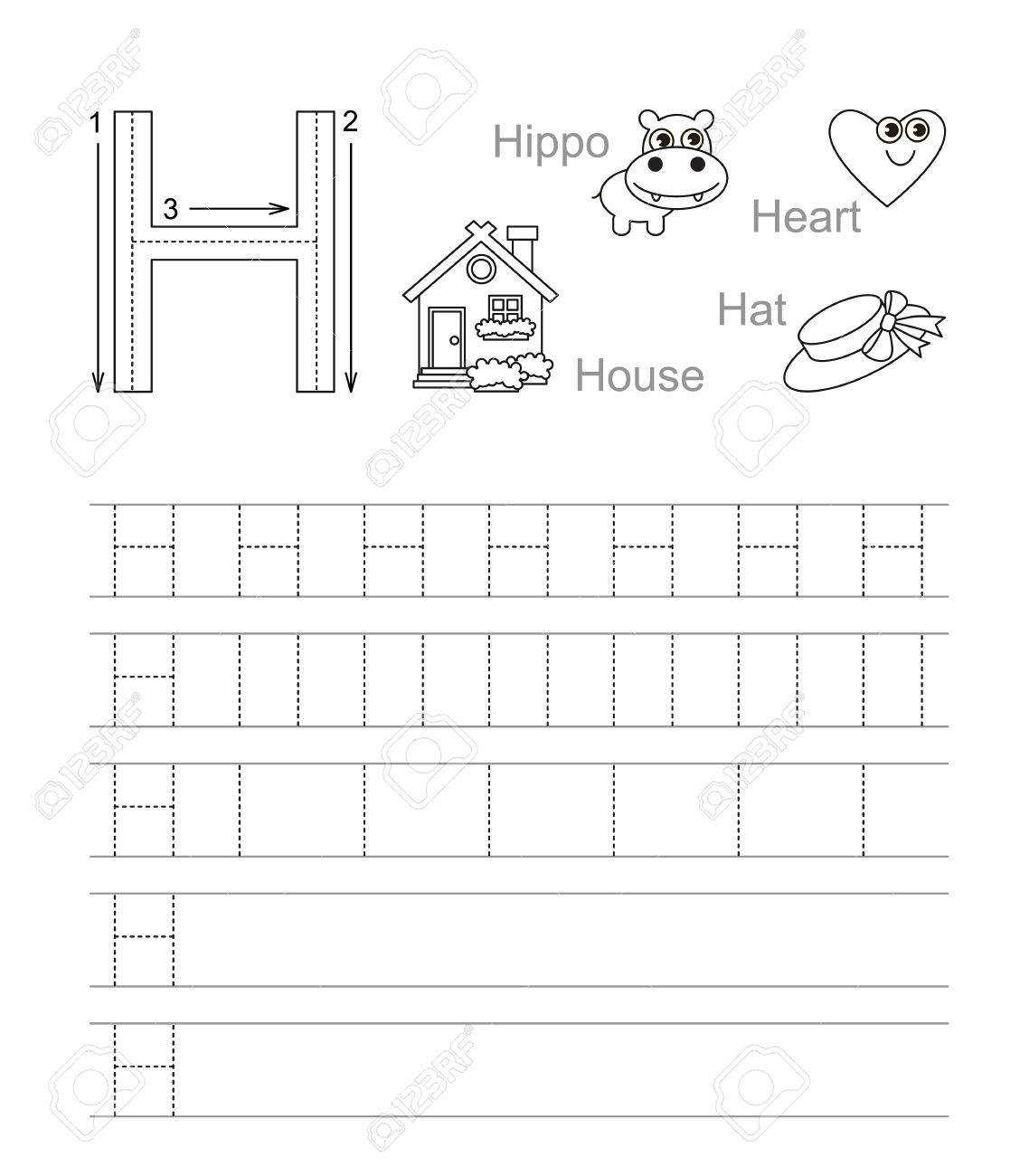 Vector Exercise Illustrated Alphabet. Learn Handwriting. Tracing.. within Letter H Tracing Worksheets
