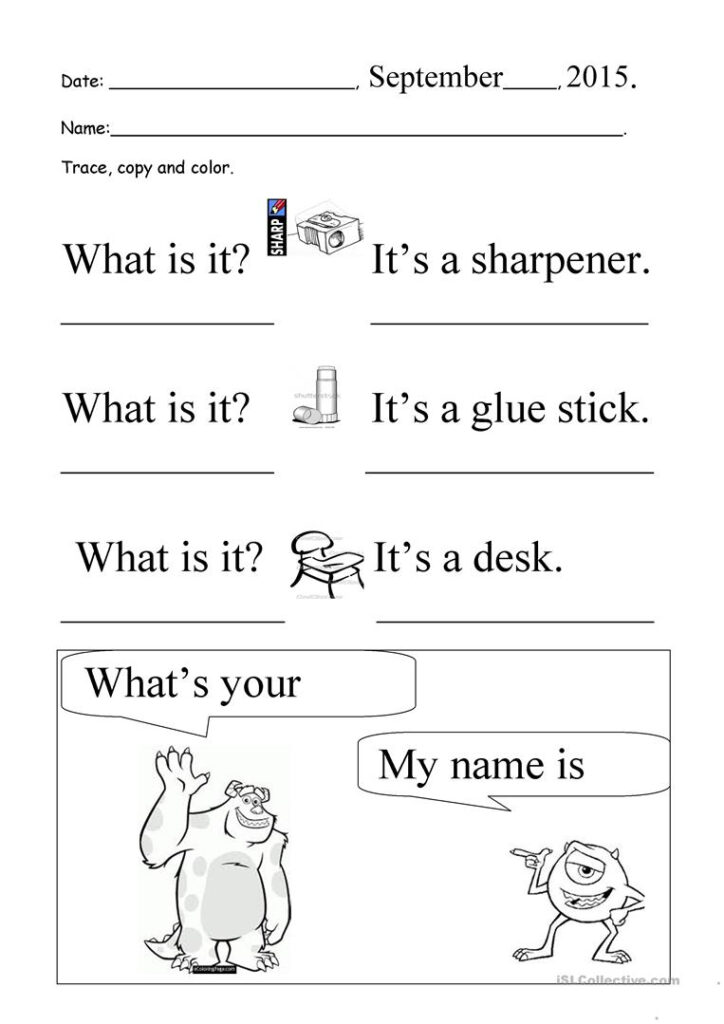 What Is It? What's Your Name? Trace And Copy   English Esl Regarding Tracing Your Name Worksheets For Preschoolers