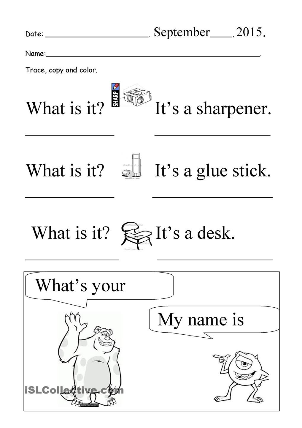 What Is It? What's Your Name? Trace And Copy | Inglese within Name Tracing And Copying Worksheets