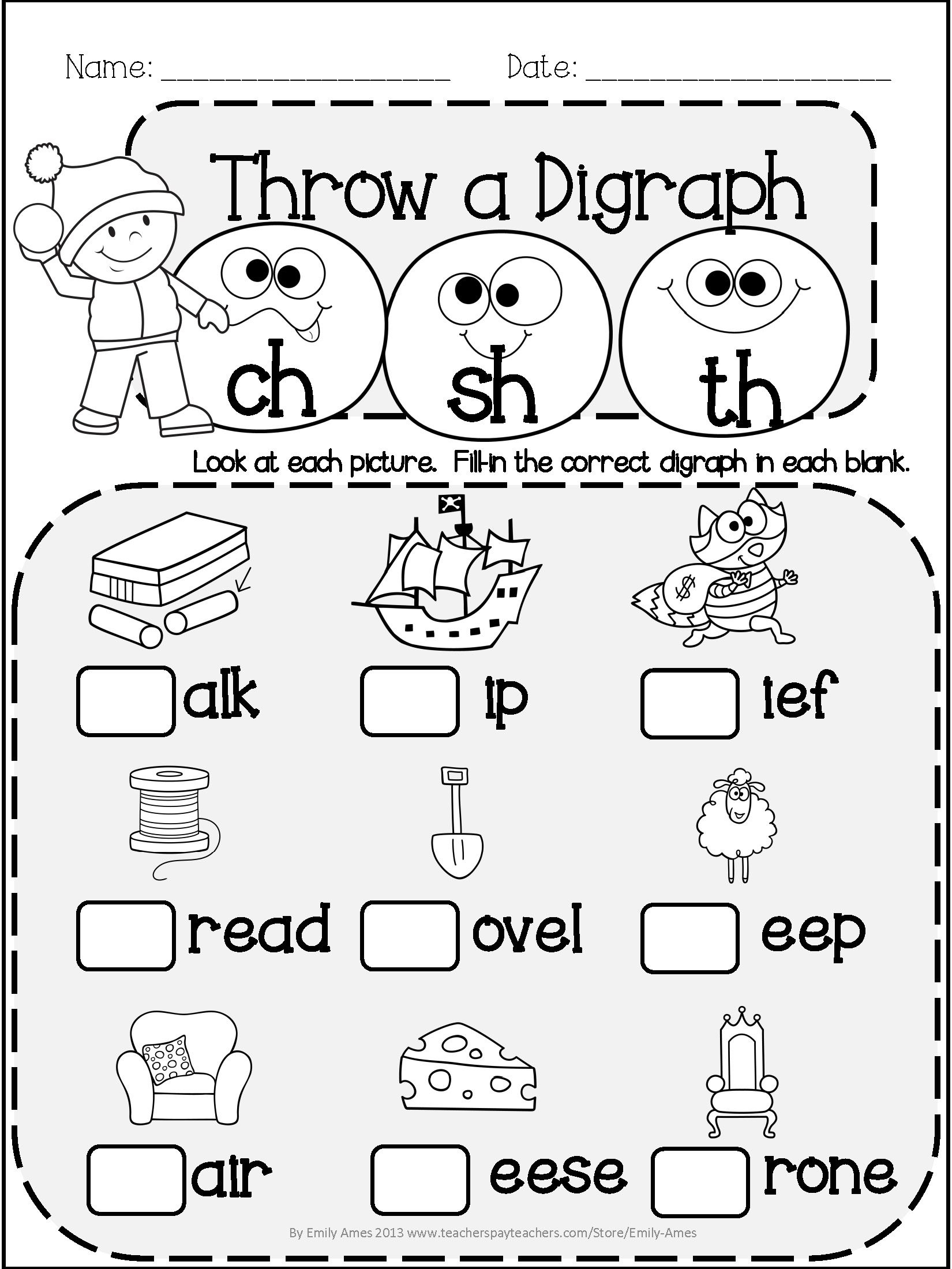 Winter Literacy Fun: Short & Long Vowels, Digraphs And regarding Letter K Worksheets 1St Grade