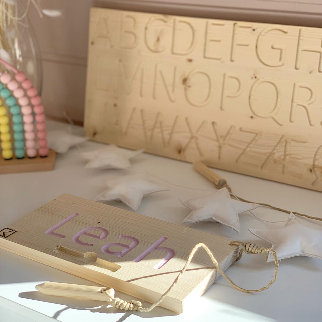 Wooden Alphabet Finger Tracing Board For Alphabet Tracing Board