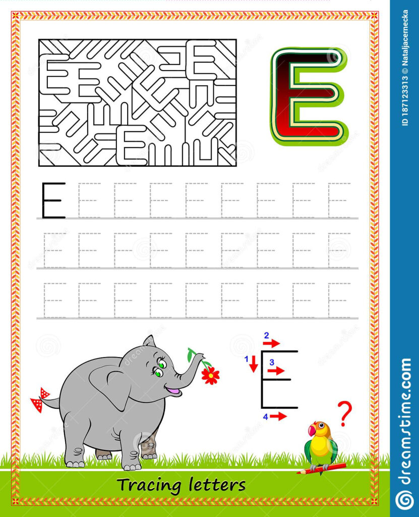 Worksheet For Tracing Letters. Find And Paint All Letters E Regarding Abc Tracing Online