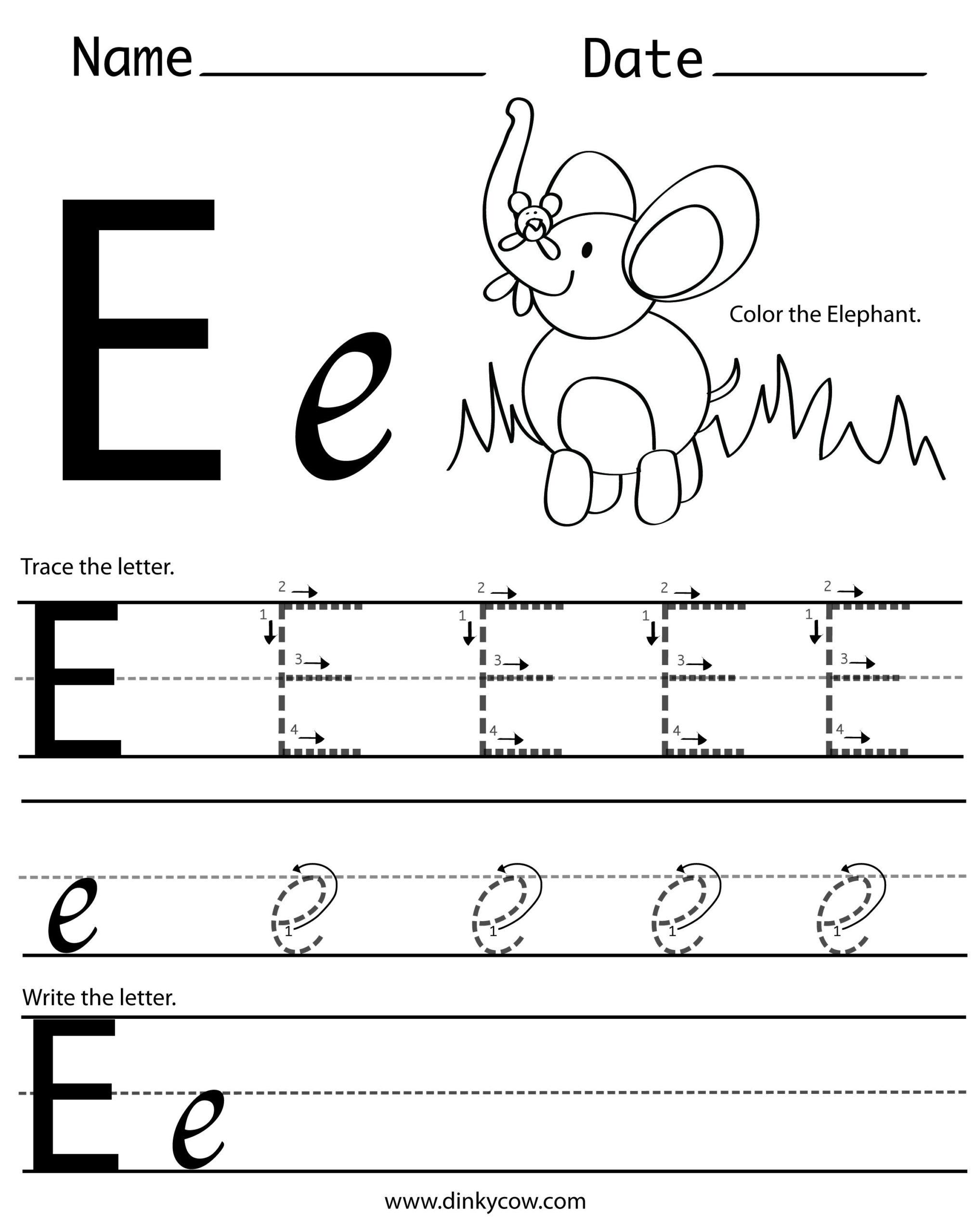 Worksheets Letter E Worksheets For Preschool Opossumsoft regarding Letter E Worksheets Tracing