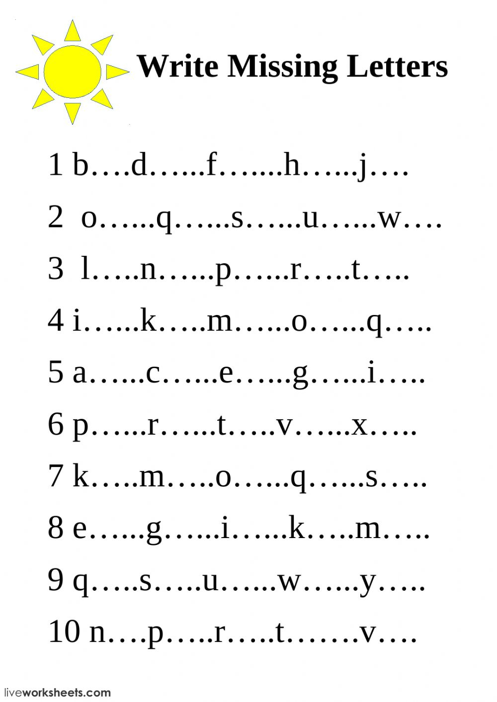 Write Missing Letters - Interactive Worksheet for Year 1 Alphabet Worksheets