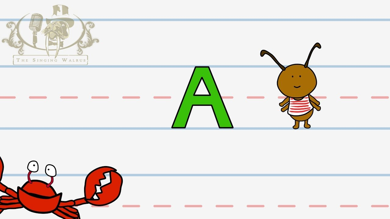 Write The Letter A | Alphabet Writing Lesson For Children | The Singing  Walrus intended for Alphabet Tracing Videos