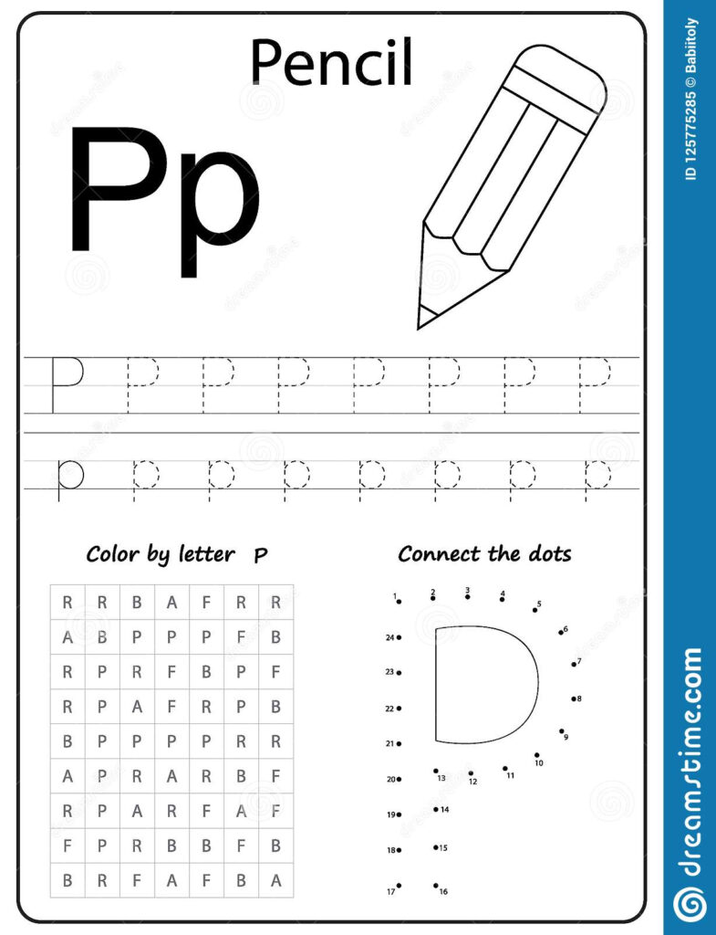 Writing Letter P. Worksheet. Writing A Z, Alphabet Regarding Letter P Tracing Sheet
