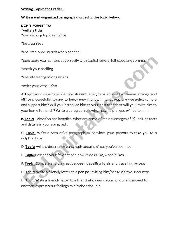 Writing Topics For Grade 5   Esl Worksheetreemsancil Regarding Letter Writing Worksheets For Grade 5
