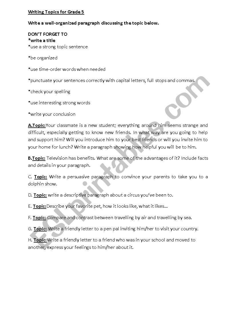 Writing Topics For Grade 5 - Esl Worksheetreemsancil regarding Letter Writing Worksheets For Grade 5