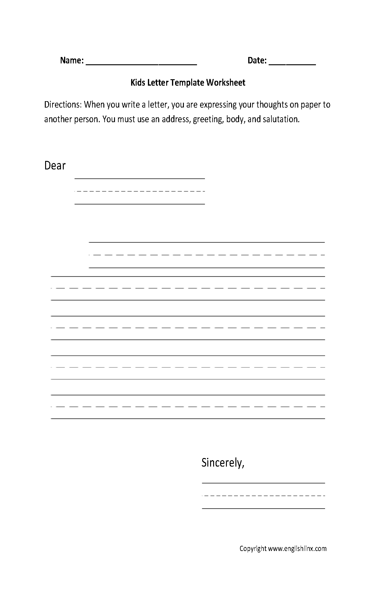 Writing Worksheets | Letter Writing Worksheets with Letter Writing Worksheets For Grade 5