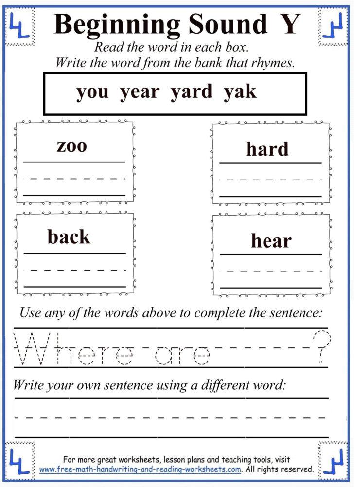 Letter Y Worksheets For First Grade