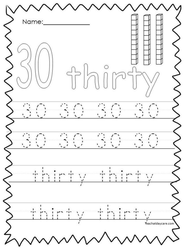 10 Printable Numbers 21 30 Tracing Worksheets. | Etsy In