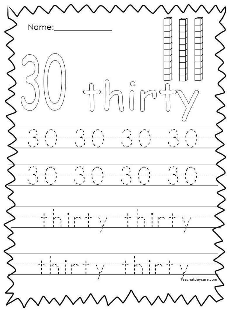 10 Printable Numbers 21-30 Tracing Worksheets. | Etsy In