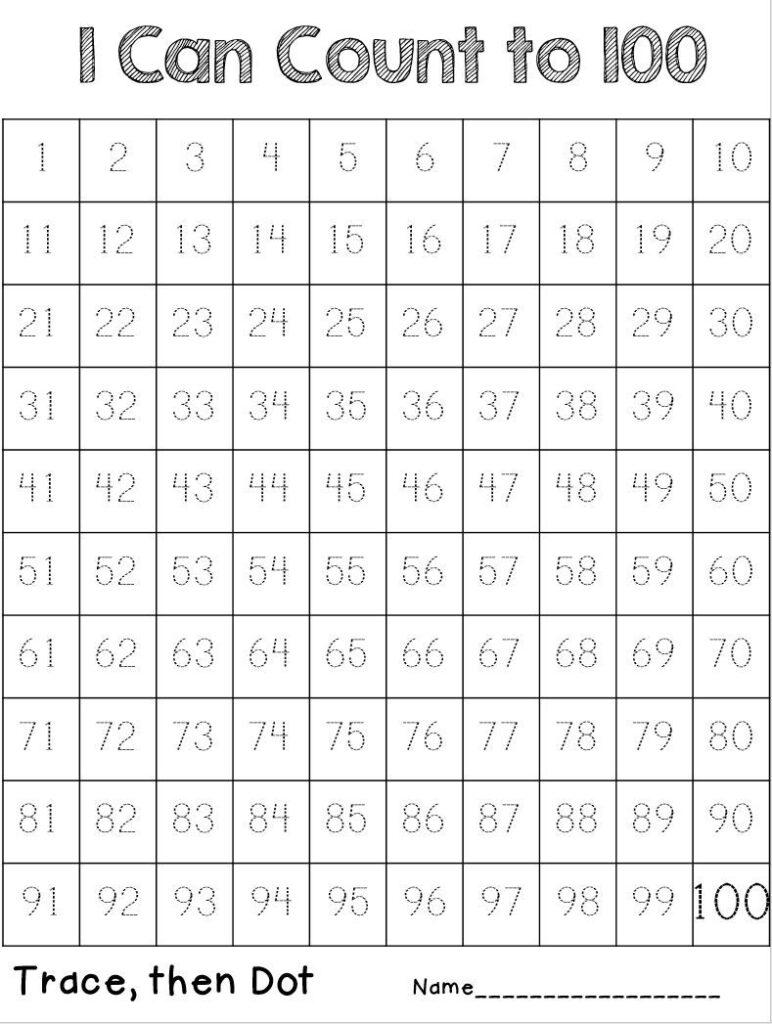 100 Trace   Numbers Kindergarten, Tracing Worksheets