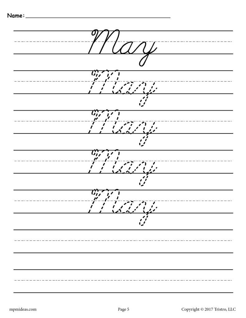 12 Cursive Handwriting Worksheets - Months Of The Year