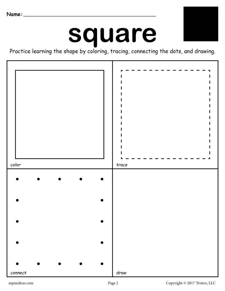 12 Shapes Worksheets: Color, Trace, Connect, & Draw