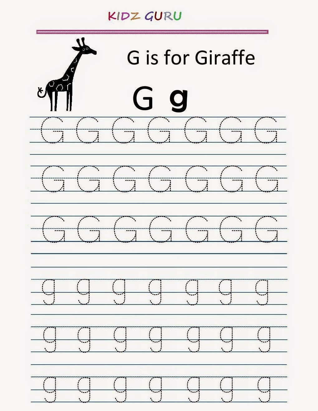 15 Exciting Letter G Worksheets For Kids | Kittybabylove intended for Letter G Tracing Printable