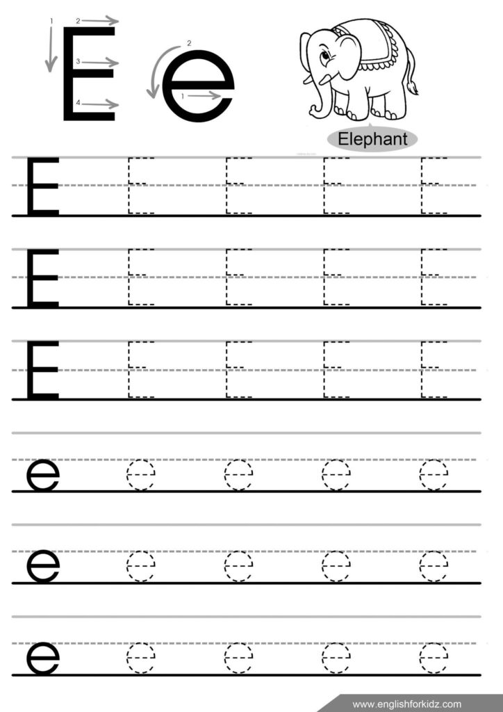 16 Letter E Tracing Worksheets For Preschool In 2020 Throughout Letter E Tracing Preschool