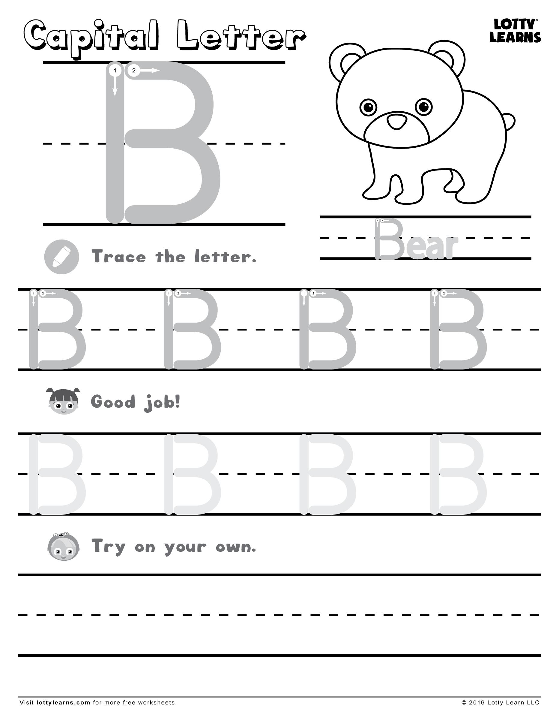 18 Letter B Worksheets For Practicing   Kittybabylove intended for Letter B Tracing Worksheets Free