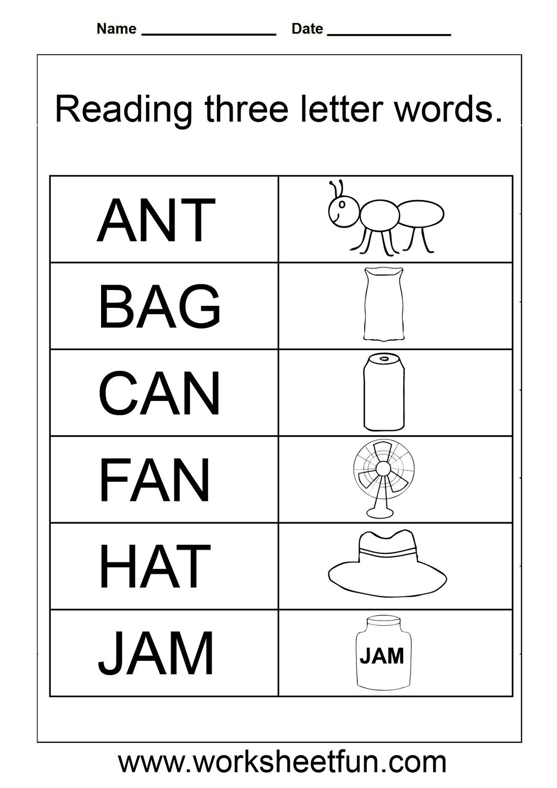 3 Letter Words Worksheets For Kindergarten | 3 Letter Words