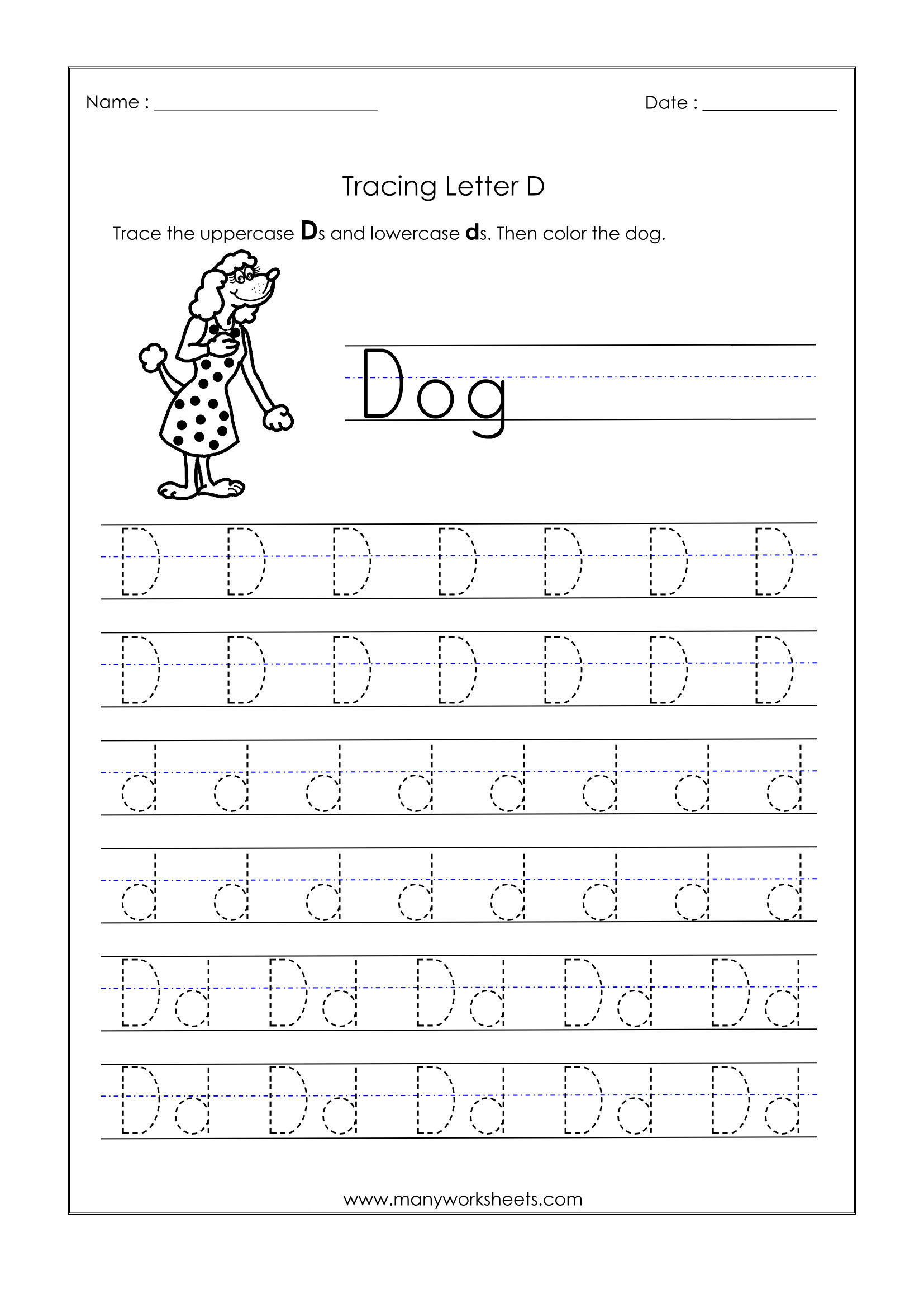 58 Staggering Alphabet Tracing Worksheets Image Inspirations inside Alphabet D Tracing