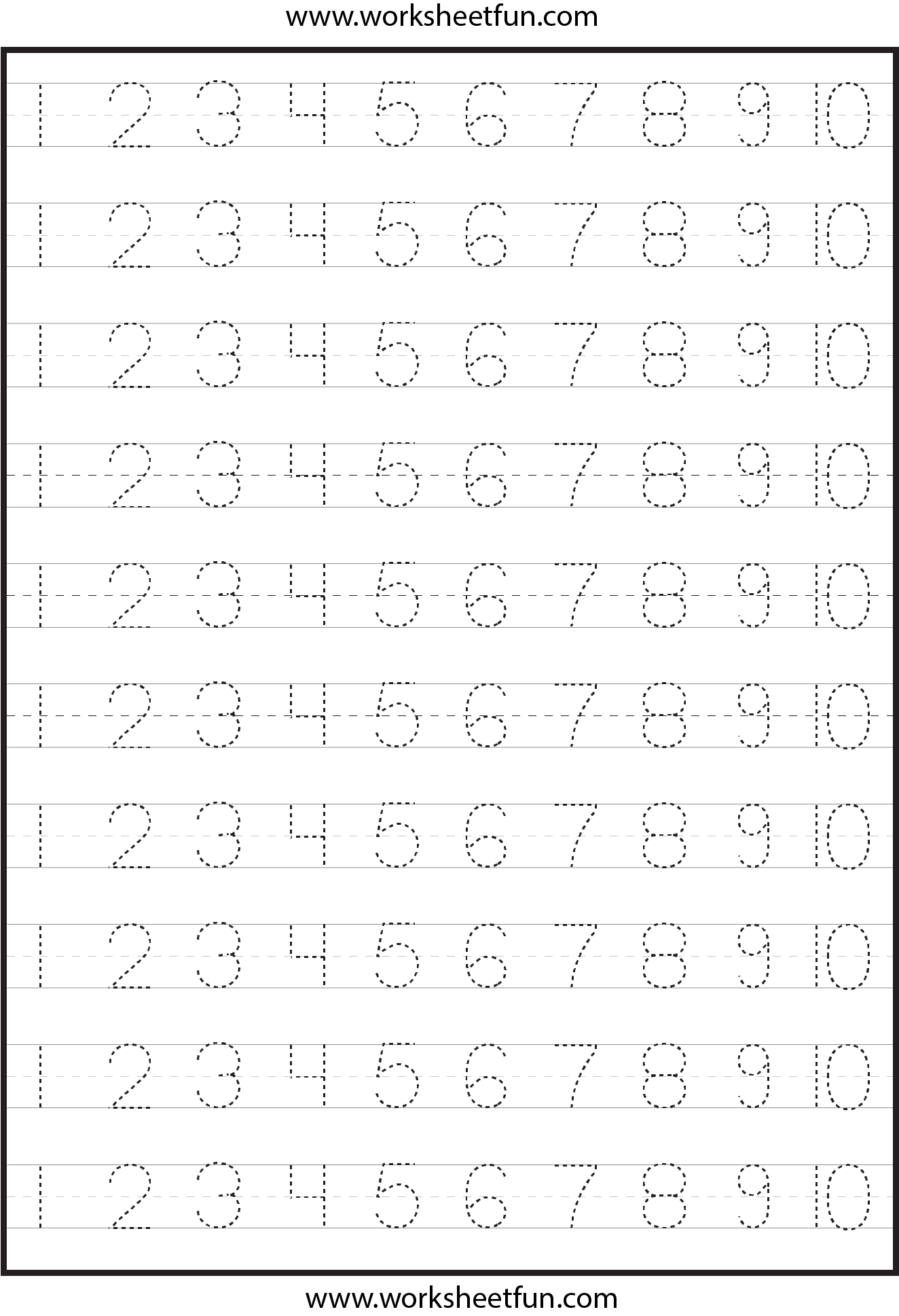 6 Best Free Printable Tracing Numbers 1 100 - Printablee