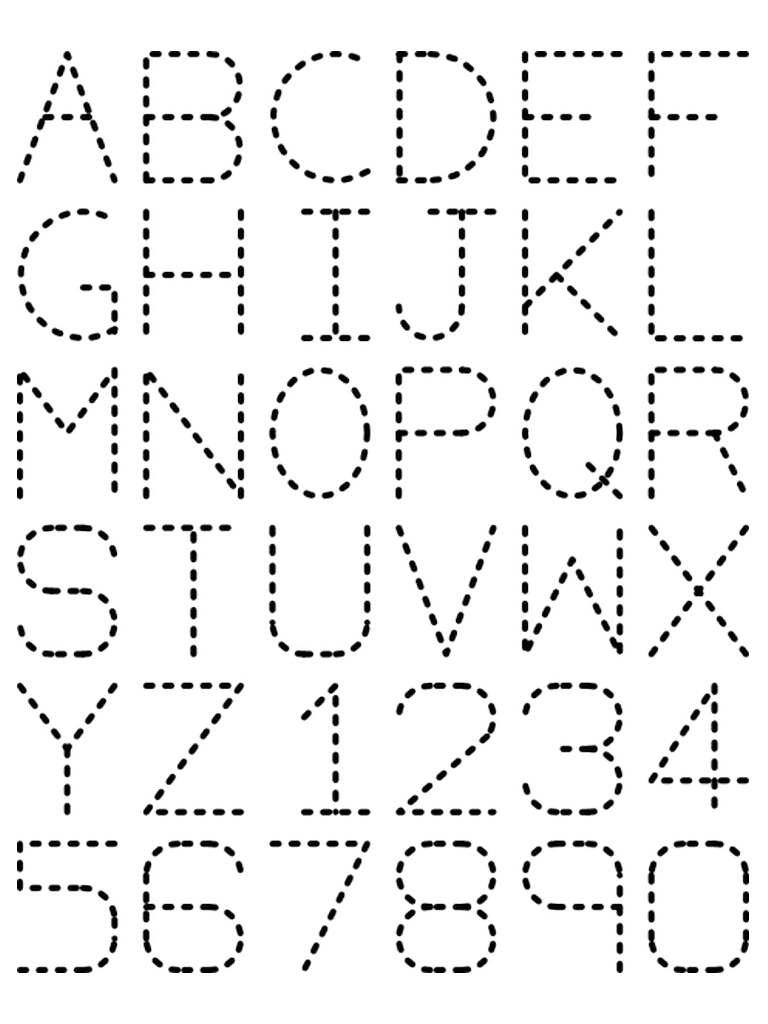 7 Best Printable Traceable Letters - Printablee inside Alphabet Tracing Stencils