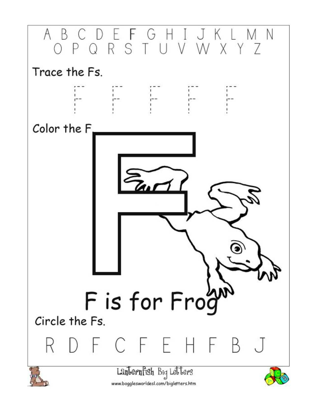 8 Best Free Printable Alphabet Worksheets Letter F for Letter F Worksheets Free Printable