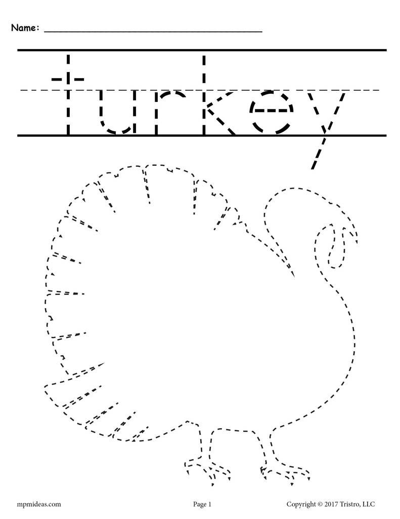 8 Printable Thanksgiving Tracing Worksheets & Handwriting