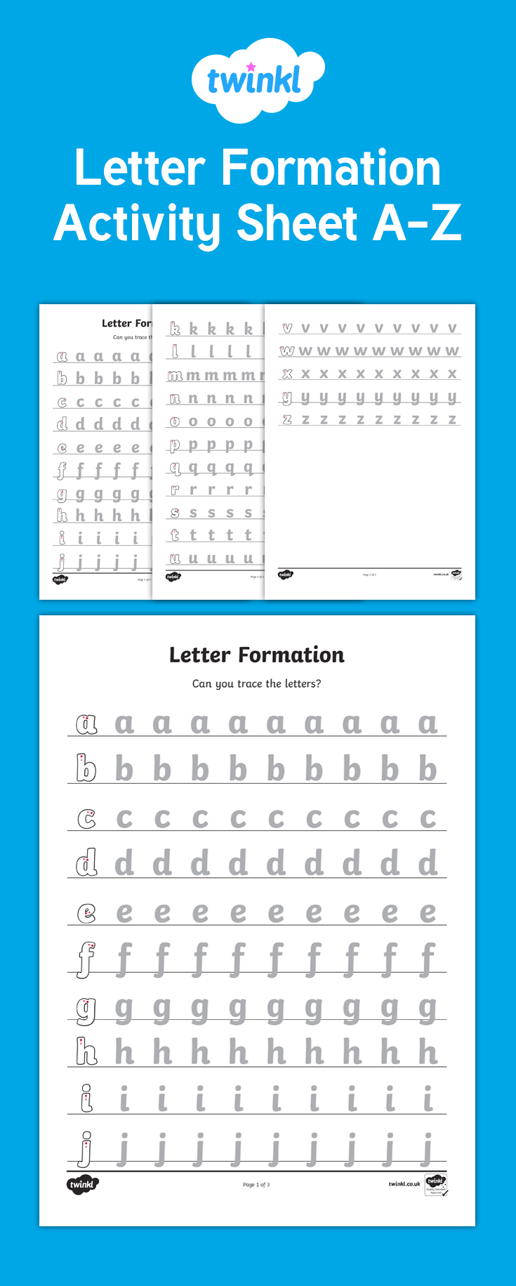A Set Of Letter Formation Worksheets For Each Letter Of The with regard to Alphabet Worksheets Twinkl
