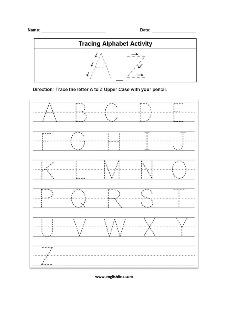 A To Z Tracing Worksheets Pdf Handwriting Practice Numbers 1 Intended For Alphabet Writing Worksheets A Z