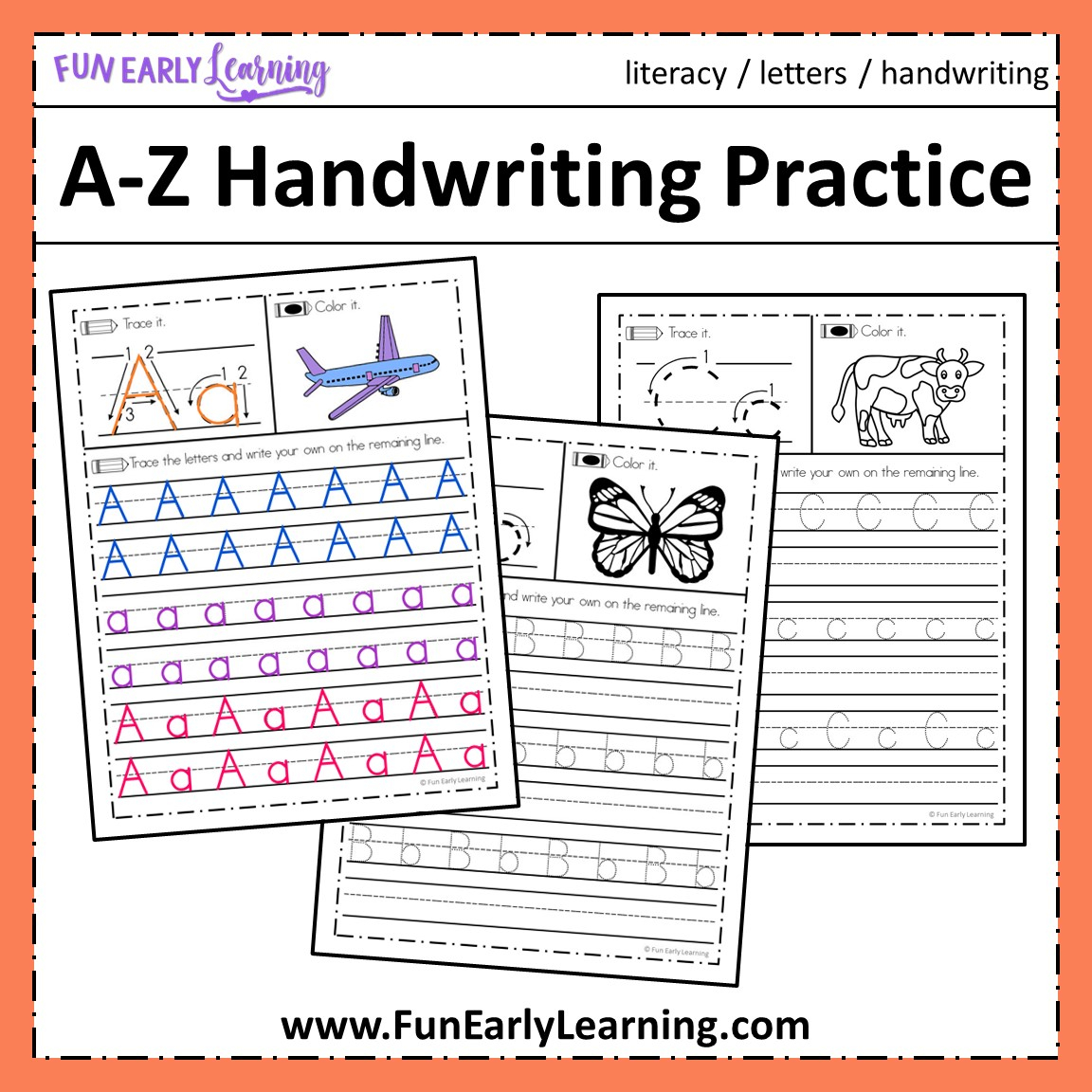 A-Z Handwriting Practice No Prep Worksheets For Learning Letters for Alphabet Worksheets A-Z Free